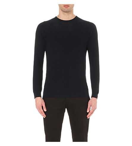 JOHN SMEDLEY Textured knitted jumper (Midnight