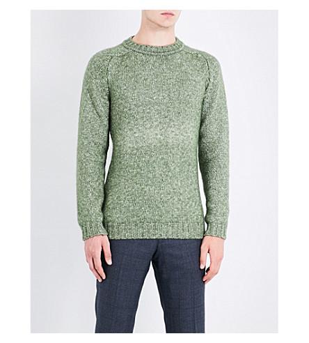 JOHN SMEDLEY Storr herringbone-knit wool sweater (Kielder+green