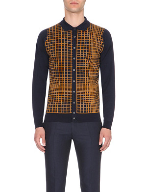 JOHN SMEDLEY Tailing grid pattern wool cardigan