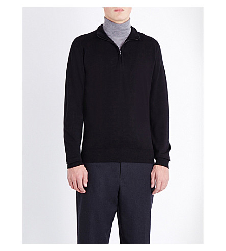 JOHN SMEDLEY Concealed zip merino-wool sweater (Black