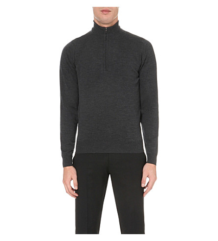 JOHN SMEDLEY Concealed zip merino-wool jumper (Charcoal