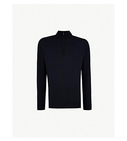 JOHN SMEDLEY Concealed zip merino-wool jumper (Midnight