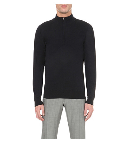 JOHN SMEDLEY Concealed zip merino-wool sweater (Midnight
