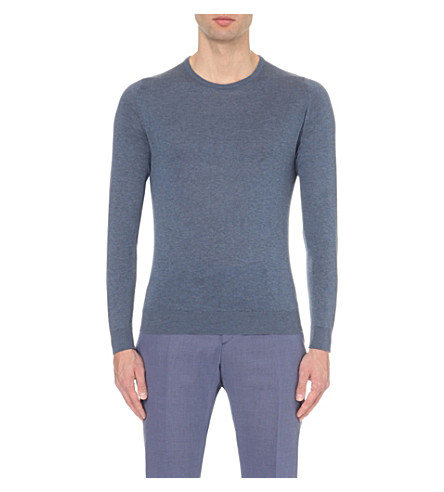 JOHN SMEDLEY Theon cotton and cashmere-blend jumper (Baltic+blue