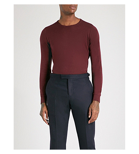 JOHN SMEDLEY Theon cotton and cashmere-blend jumper (Burgundy+grain