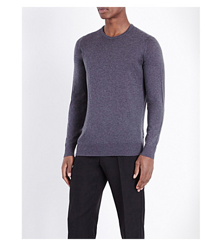 JOHN SMEDLEY Theon cotton and cashmere-blend jumper (Charcoal