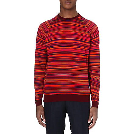 JOHN SMEDLEY Merino wool stripe jumper (Bordeaux/papaya