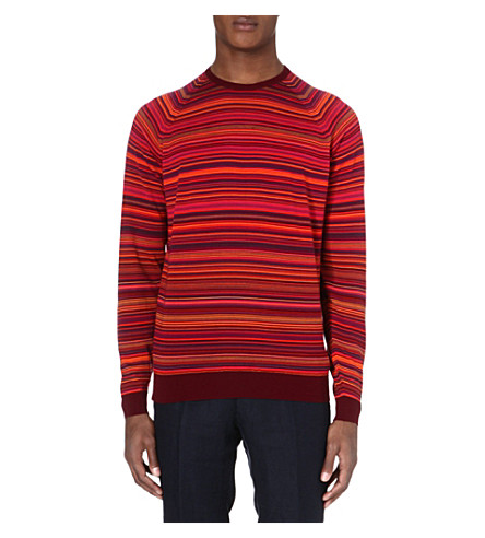 JOHN SMEDLEY Merino wool stripe jumper (Bordeaux/papaya