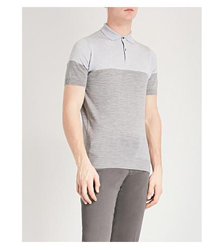 JOHN SMEDLEY Toller wool polo shirt (Silver/bardot+grey