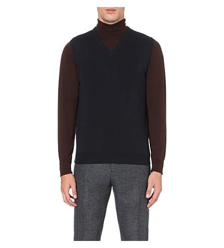 JOHN SMEDLEY Turner merino wool vest (Navy