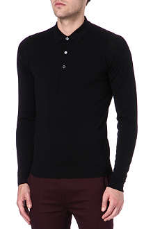 JOHN SMEDLEY Slim-fit long-sleeved wool polo shirt