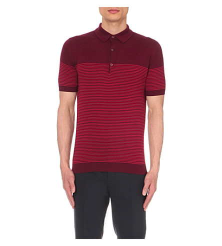 JOHN SMEDLEY Viking knitted polo shirt (Gard+red+mun+red