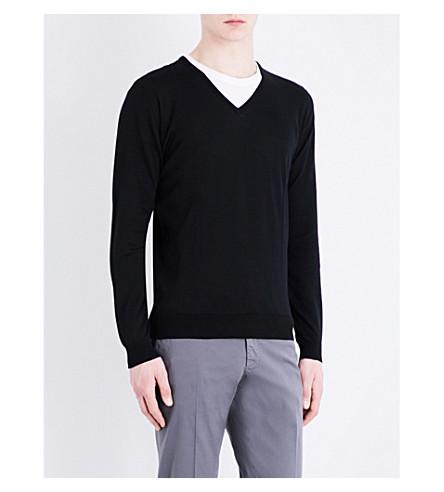 JOHN SMEDLEY Woburn ribbed trim cotton jumper (Black