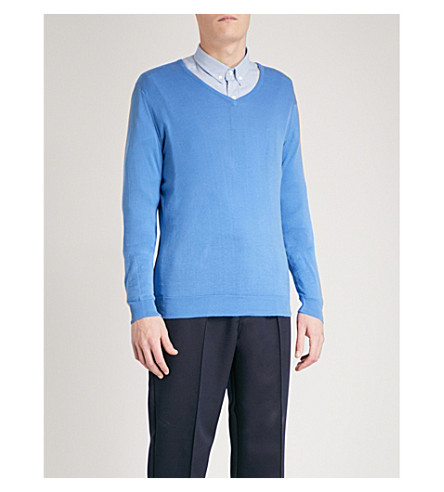 JOHN SMEDLEY Woburn cotton sweater (Chambray+blue