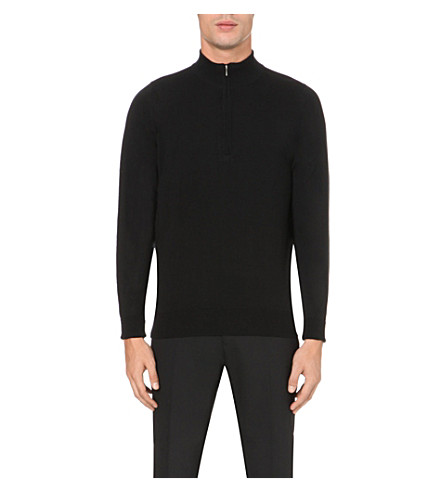 JOHN SMEDLEY Wyvern half-zip merino wool jumper (Black