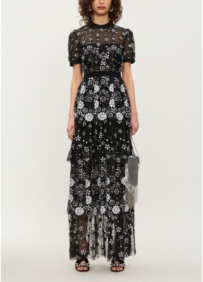 Tiered sequin-embellished tulle midi dress