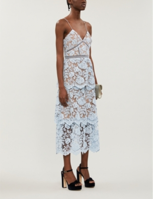 Tiered floral-lace midi dress