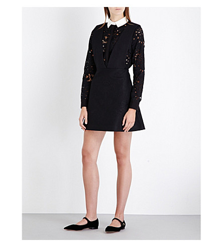 SELF-PORTRAIT Botanical guipure-lace and quilted dress (Black