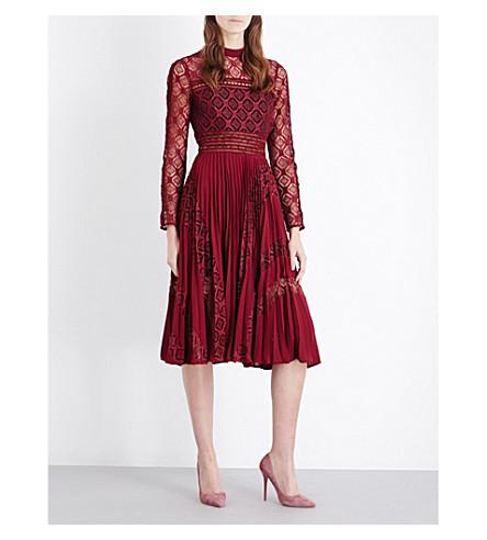 SELF-PORTRAIT Symm lace and chiffon midi dress (Burgundy