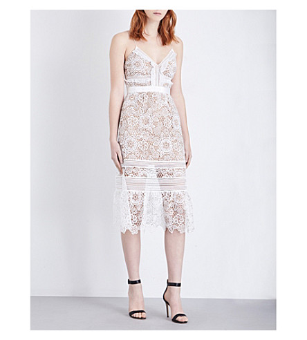 SELF-PORTRAIT Floral Blush guipure-lace midi dress (White
