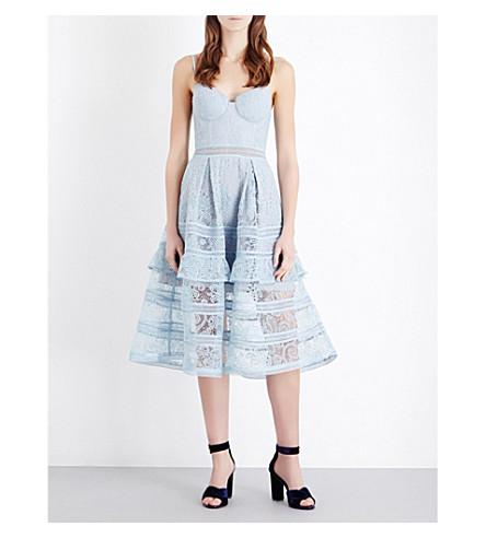 SELF-PORTRAIT Paisley lace midi dress (Icy blue