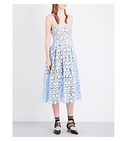 SELF-PORTRAIT Azaelea guipure-lace midi dress (Sky+blue