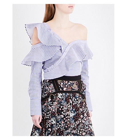 SELF-PORTRAIT Striped frill cotton shirt (Blue
