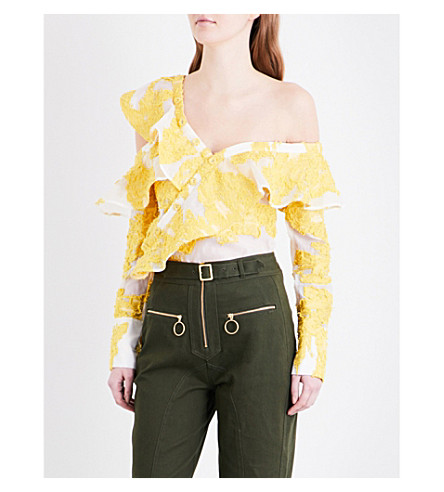 SELF-PORTRAIT Fil coupé frill shirt (Yellow