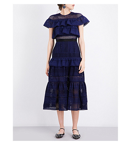 SELF-PORTRAIT Floral broderie midi dress (Navy