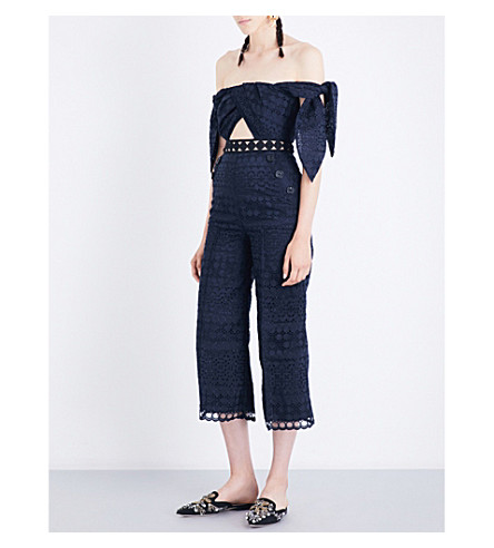 SELF-PORTRAIT Tie Detail off-the-shoulder guipure-lace jumpsuit (Navy