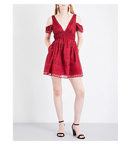 SELF-PORTRAIT Sheared cold shoulder mini dress (Raspberry+red