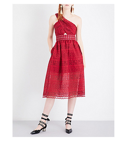 SELF-PORTRAIT One Shoulder Cutout midi dress (Raspberry+red