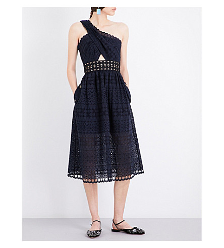 SELF-PORTRAIT One shoulder cut out midi dress (Navy