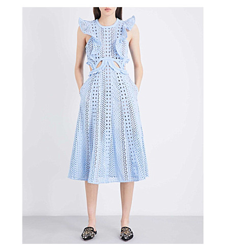 SELF-PORTRAIT Embroidered Cutout midi dress (Baby+blue