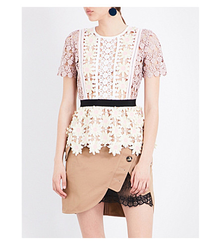 SELF-PORTRAIT 3D floral peplum top (Multi
