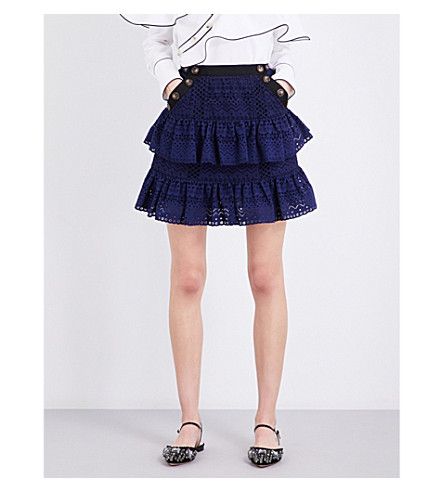 SELF-PORTRAIT Hazel mini skirt (Navy