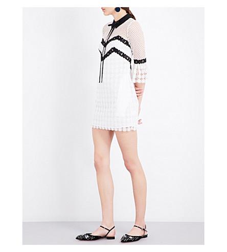 SELF-PORTRAIT Petal guipure-lace mini dress (Black white