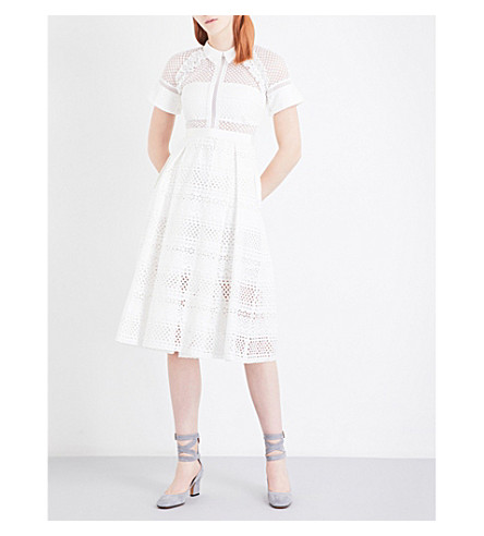 SELF-PORTRAIT Raglan Detail midi dress (White