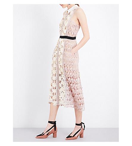 SELF-PORTRAIT 3D floral guipure-lace midi dress (Multi