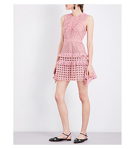SELF-PORTRAIT Frilled lace mini dress (Pink