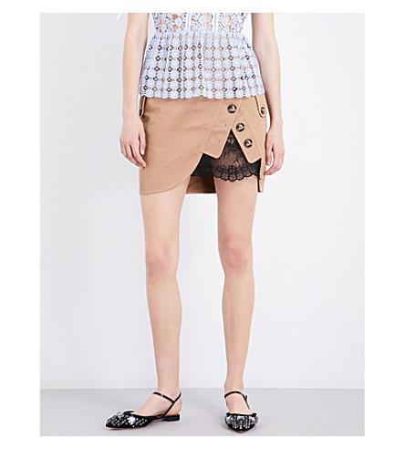 SELF-PORTRAIT Lace-detail cotton mini skirt (Beige