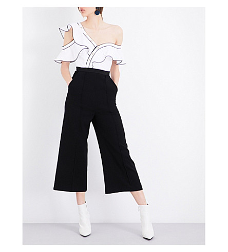 SELF-PORTRAIT Frilled cotton-blend jumpsuit (Black+white