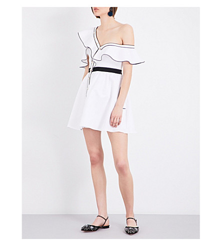 SELF-PORTRAIT Asymmetric frilled silk-cotton mini dress (White
