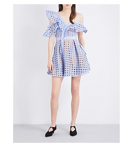 SELF-PORTRAIT Guipure Frill mini dress (Baby+blue