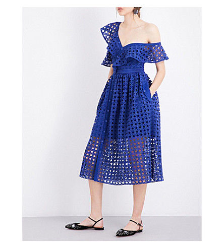 SELF-PORTRAIT Guipure Frill midi dress (Cobalt