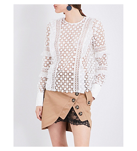 SELF-PORTRAIT Daisy guipure-lace and organza top (White