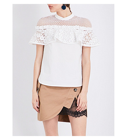SELF-PORTRAIT Hudson cotton top (White