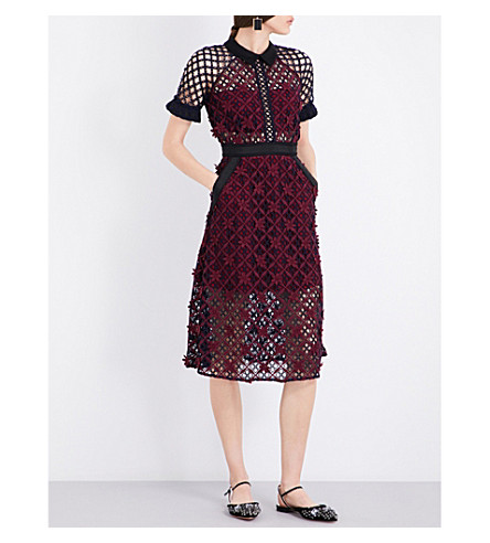 SELF-PORTRAIT 3D floral guipure-lace midi dress (Multi