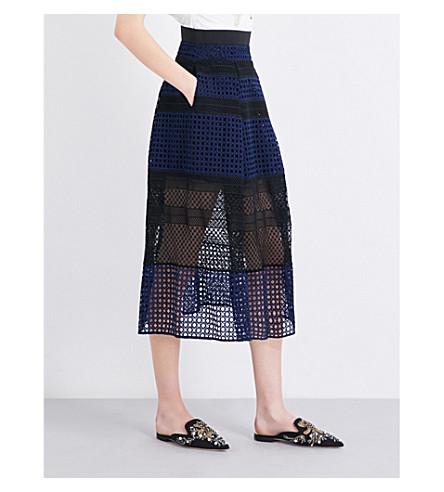 SELF-PORTRAIT Crosshatch Panelled midi skirt (Navy