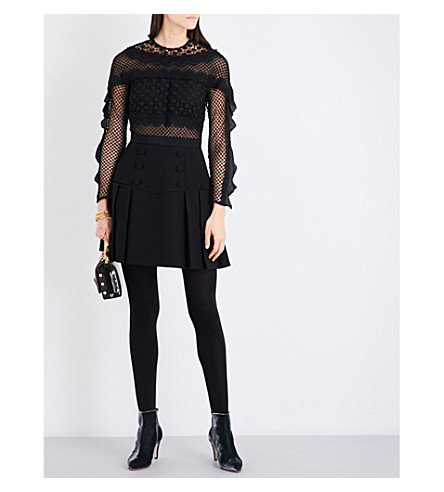 SELF-PORTRAIT Bellis lace-trim mini dress (Black